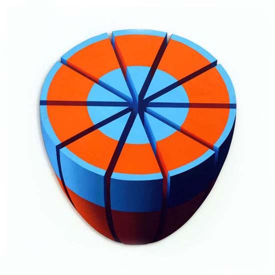Blue and Orange Slices, Acrylic/Canvas/Board, 79cm x 87cm