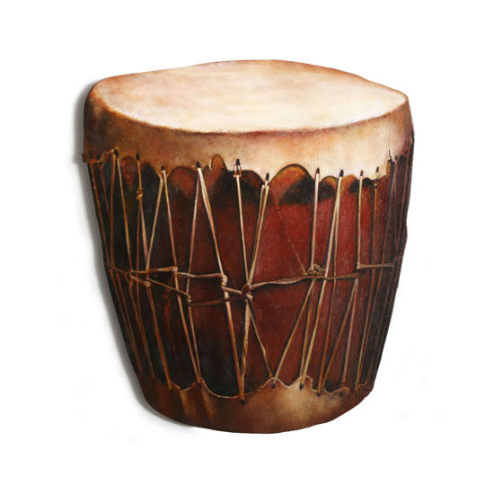 Pueblo Native American Drum, Acrylic/Oil/Canvas/Board. 50 x 56cm