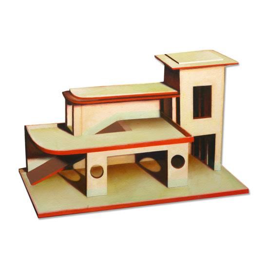 Art Deco Toy Garage, Acrylic/Oil/Canvas/Board, 60 x 45cm