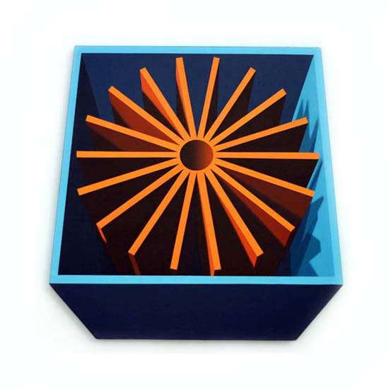 Orange Cog, Acrylic/Canvas/Board, 83 x 83cm