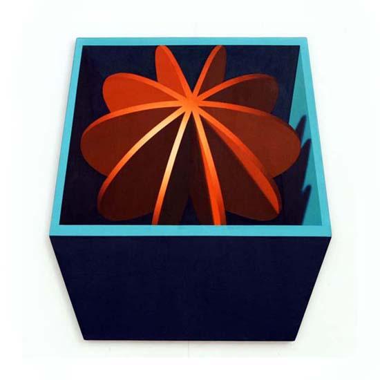 Orange Discs, Acrylic/Canvas/Board, 82 x 88cm