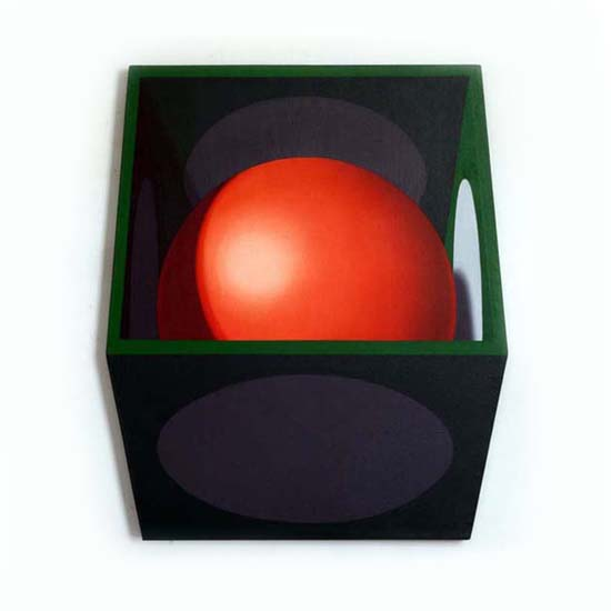 Red Sphere/White Discs, Acrylic/Canvas/Board, 72 x 85cm