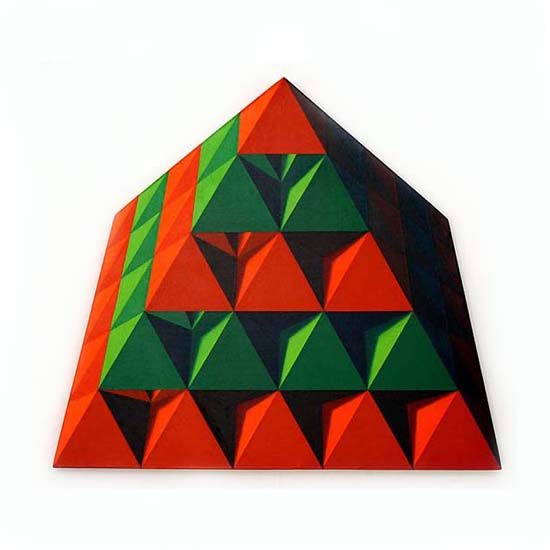 Red and Green Pyramid, Acrylic/Canvas/Board, 93 x 82cm