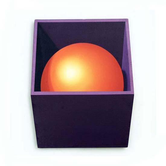 Violet Box/Orange Sphere, Acrylic/Canvas/Board, 48 x 59cm