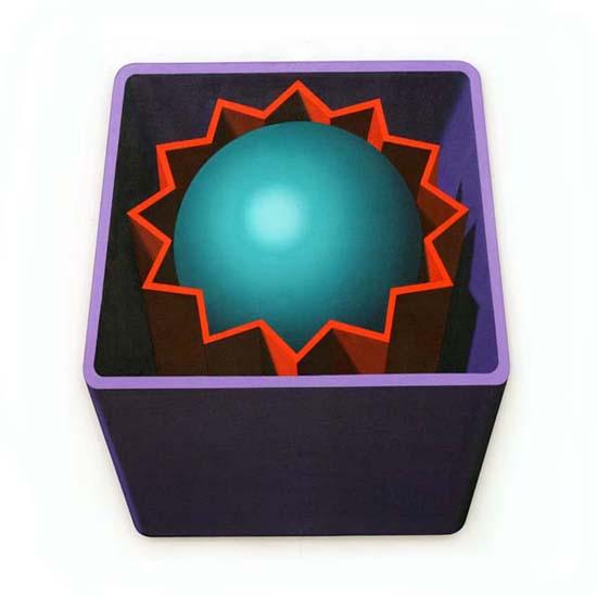 Violet Box/Orange Star/Turquoise Sphere, Acrylic/Canvas/Board, 80cm x 88cm