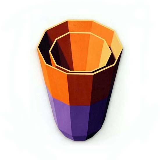 Violet and  Orange Cups, Acrylic on Canvas, 59cm x 84cm