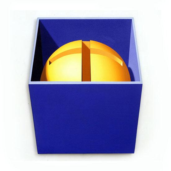 Yellow Crosscut Sphere, Acrylic/Canvas/Board, 73 x 87cm