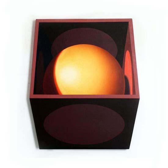 Yellow Sphere/Pink Discs, Acrylic/Canvas/Board, 72 x 85cm