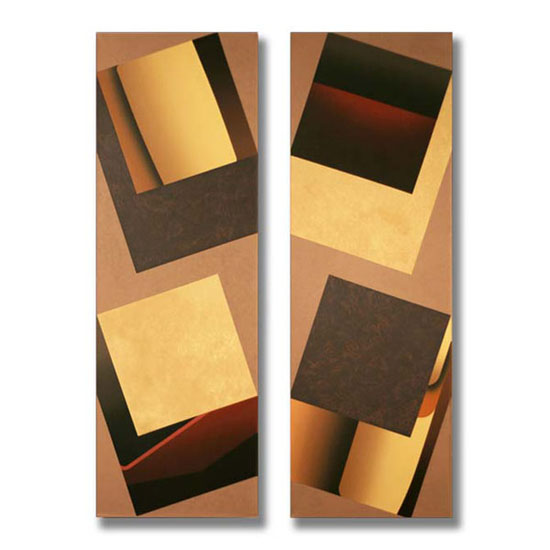 4 Squares (2), Diptych, Acrylic on Canvas, each section 51 x 153cm