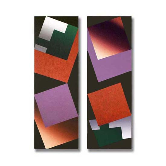 4 Squares (4), Diptych, Acrylic/Canvas/Board, each section 25 x 75cm