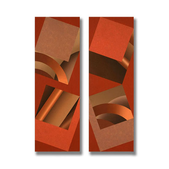 4 Squares (5), Diptych, Acrylic/Canvas/Board, each section 25 x 75cm