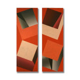 4 Squares (6), Diptych, Acrylic/Canvas/Board, each section 25 x 75cm