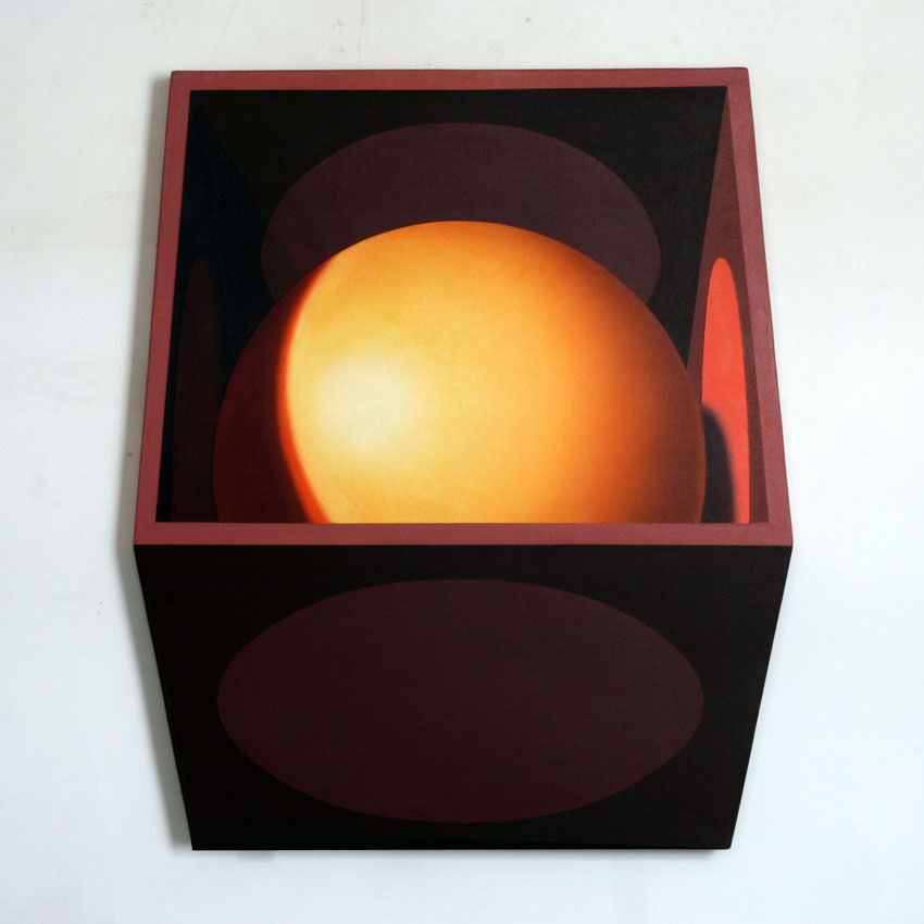Yellow Sphere Pink Discs, Acrylic Canvas Board, 72 x 85cm
