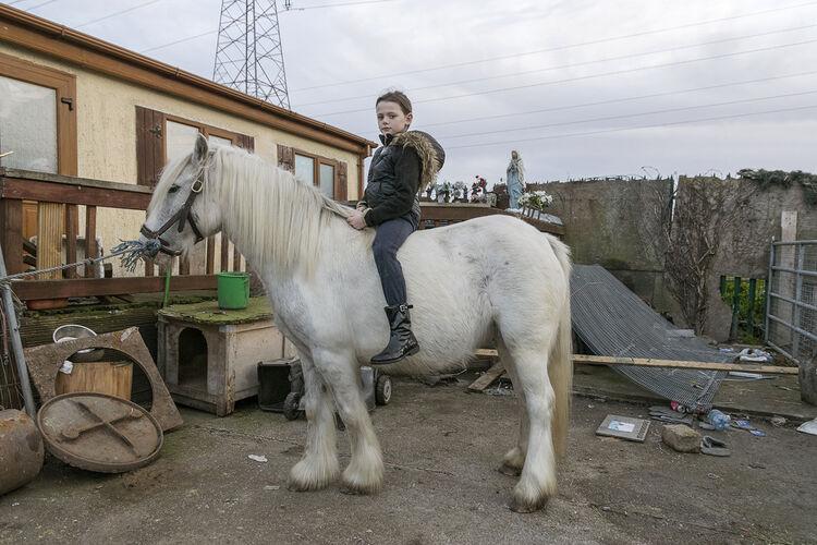 Alesha on pony, halting site, Dublin, Ireland 2018