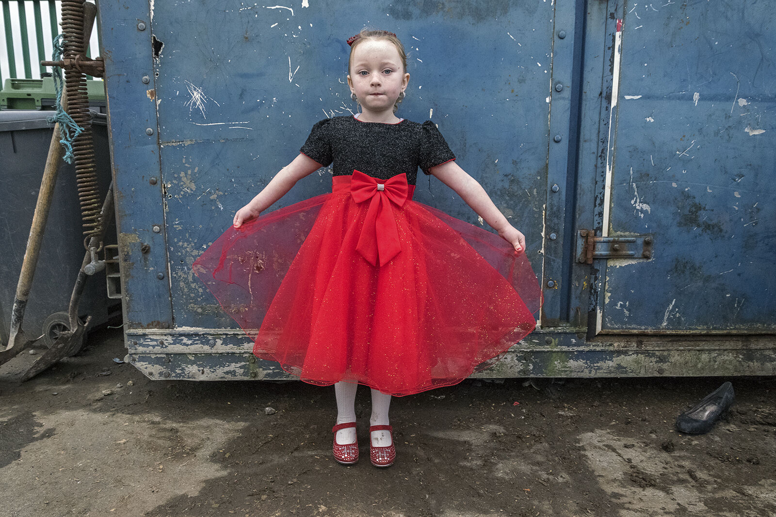 Alesha's Red Dress on New Year's Day, roadside campsite, Tipperary, Ireland 2019