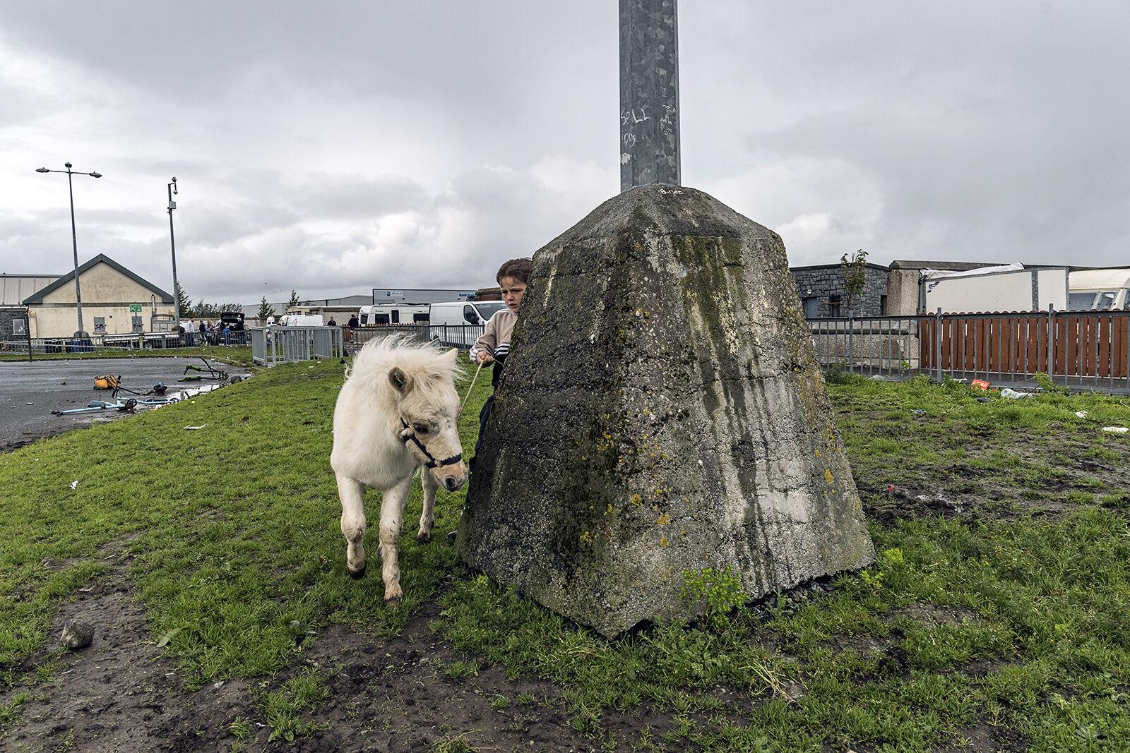 Boy and Pony around Lamp Post, Galway, Ireland 2019