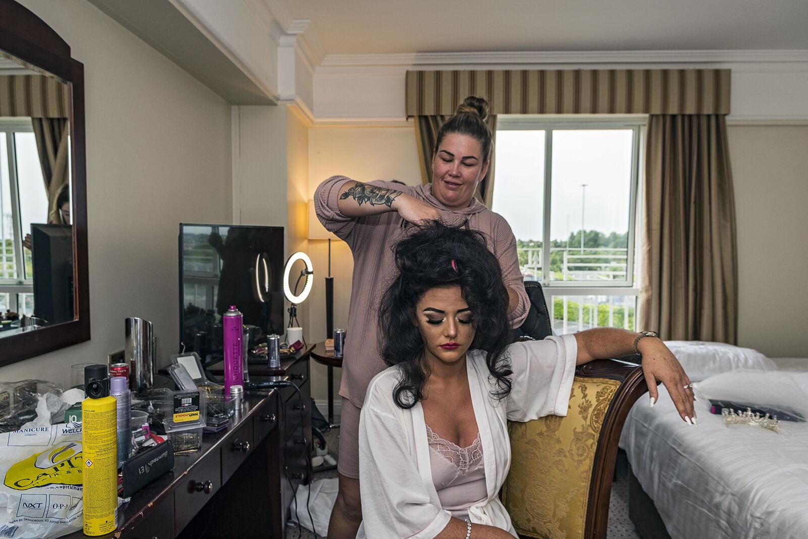 Delillah Getting Her Hair Done Before Her Wedding, Dublin, Ireland 2020
