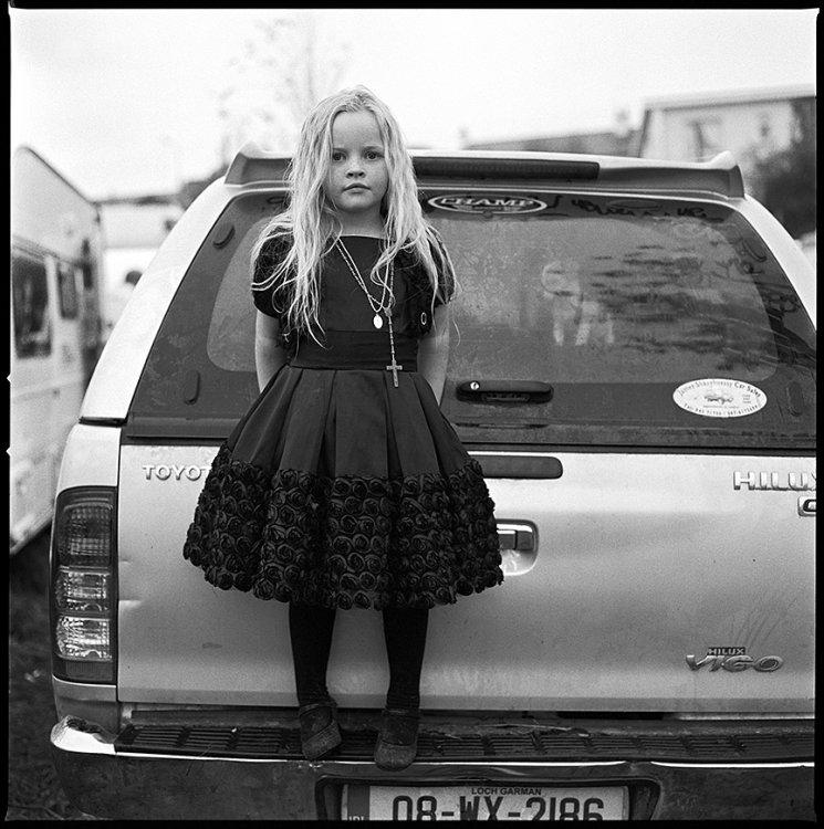 Elizabeth with Puppy in truck, Ballinasloe, Galway, Ireland 2011