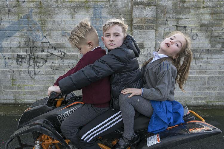 Faulkner Siblings on quad, hating site, Limerick, Ireland 2019
