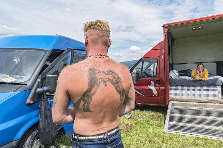 Fighting Gypsy Horses Tattoo, Appleby, UK 2019