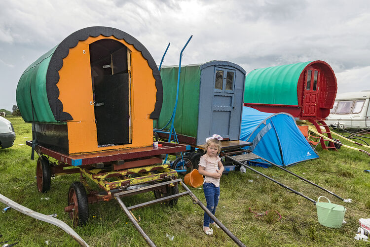 Girl and Three Caravans, Appleby, UK 2018
