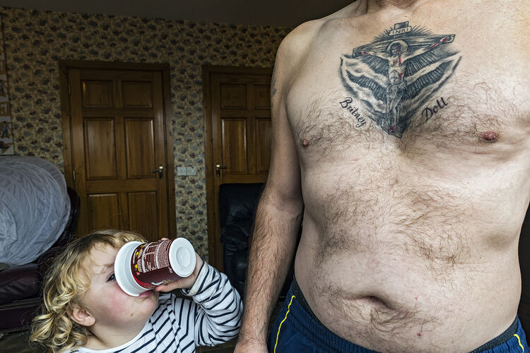 Girl and Grandfather's Tattoo, Tipperary, Ireland 2020