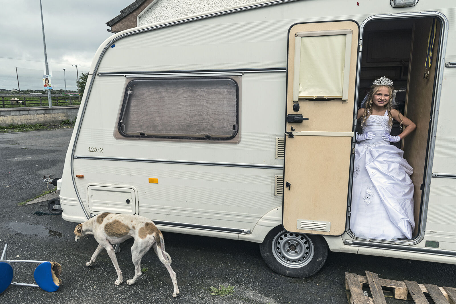 Kelly at door on her first holy communion, Tipperary, Ireland 2019