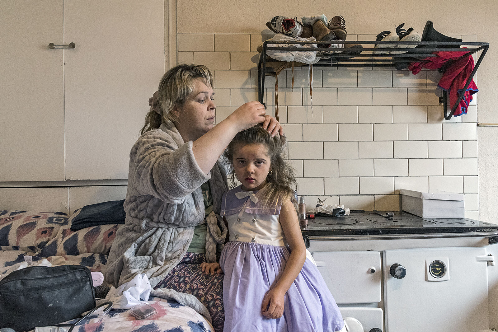 Geraldine fixing Leanne's Hair, Galway, Ireland 2020