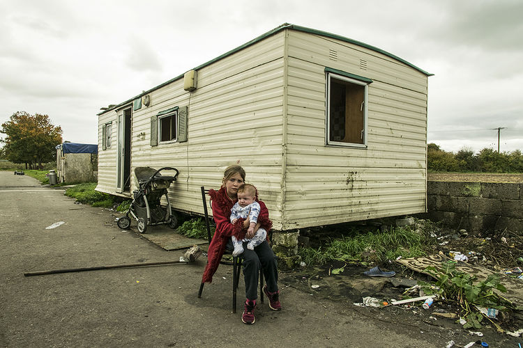 Mary and her baby brother, roadside campsite, Tipperary, Ireland 2018
