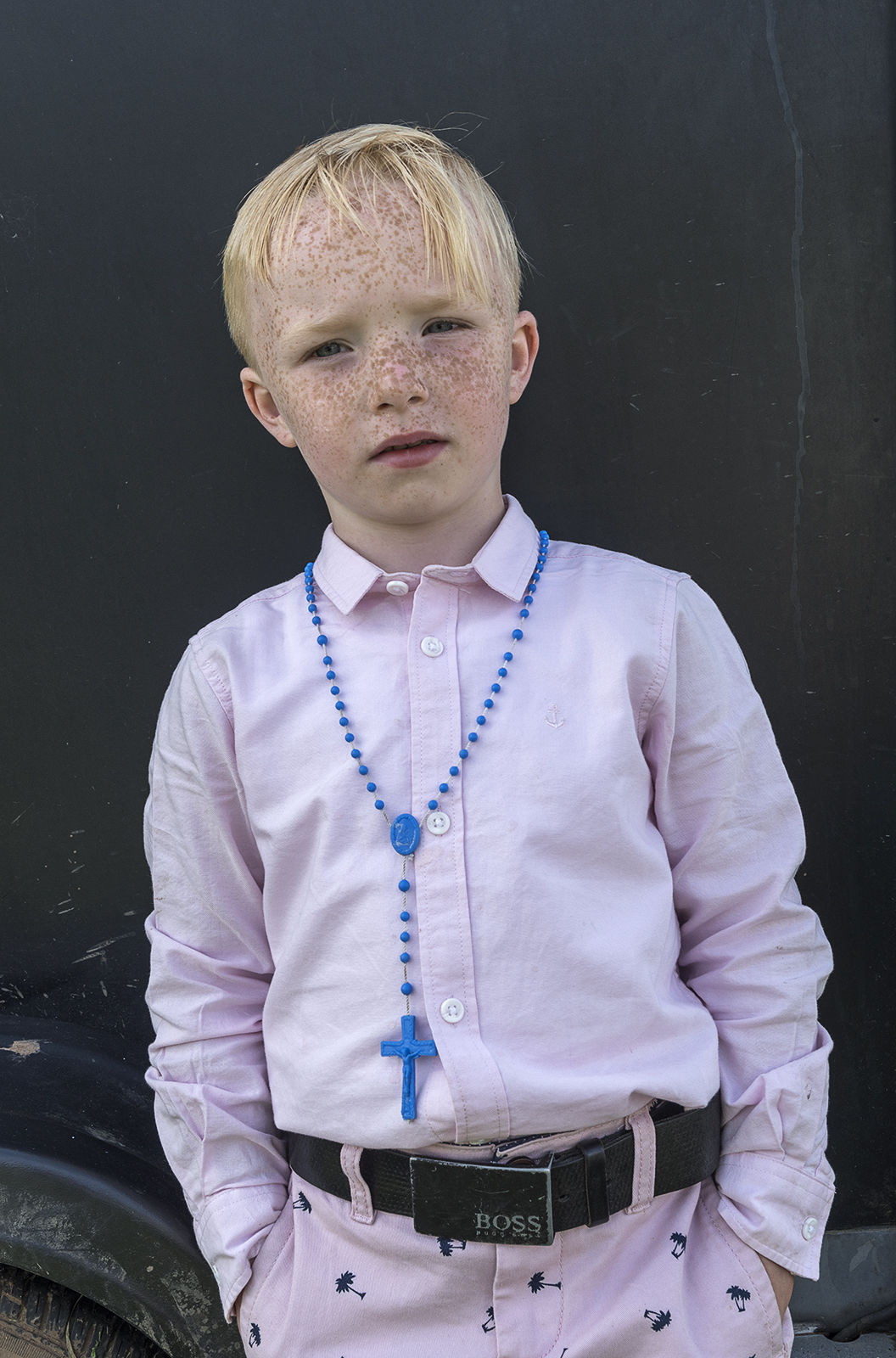 Mick with Blue Rosary. Appleby Horse Fair, UK 2018