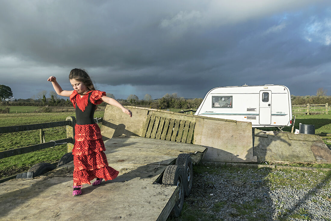 Nikita trying her new flamenco dress, roadside campsite, Tipperary, Ireland 2019