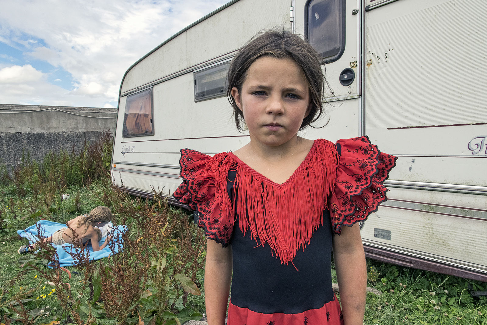 Nikita in Red Gypsy Dress, roadside campsite, Tipperary, Ireland 2018