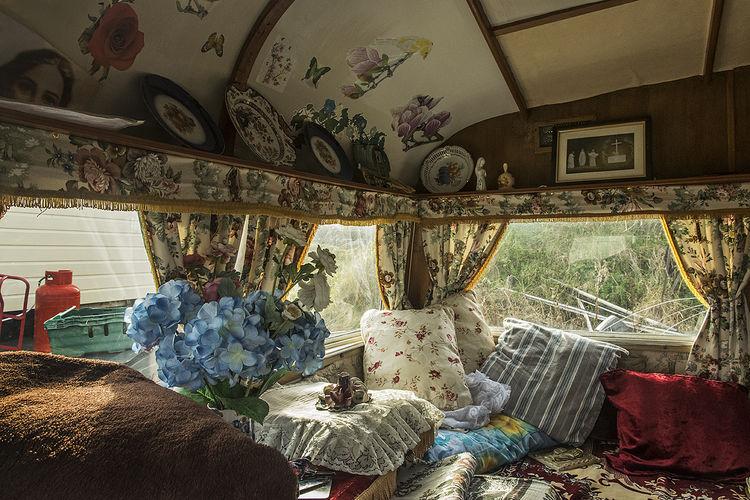 Old Caravan Interior, roadside campsite, Dublin, Ireland 2019