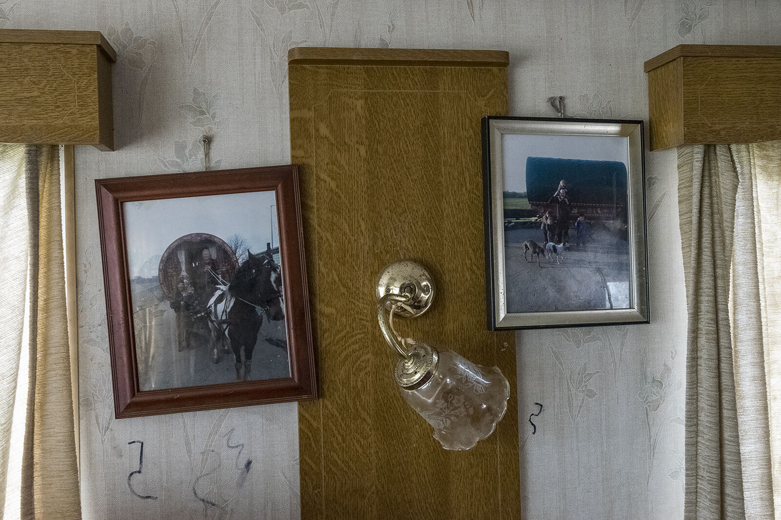 Old Photographs and Lamp, Johnny Reilly Family's Caravan, Tipperary, Ireland 2019