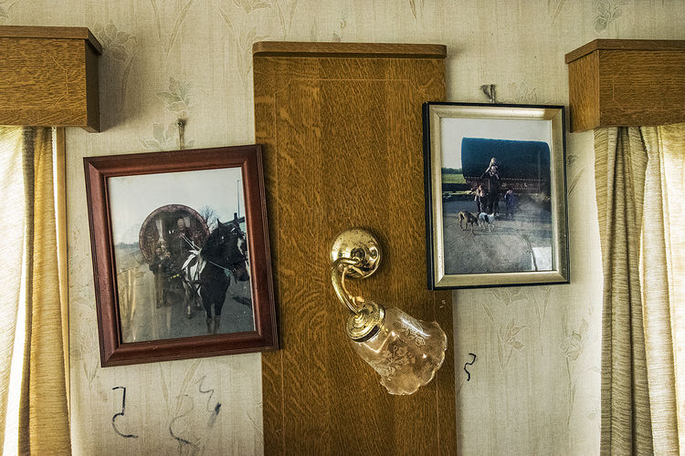 Old Photos, inside Reilly's home, roadside campsite, Tipperary, Ireland 2019