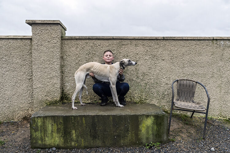 Boy With Lurcher, Tipperary, Ireland 2020
