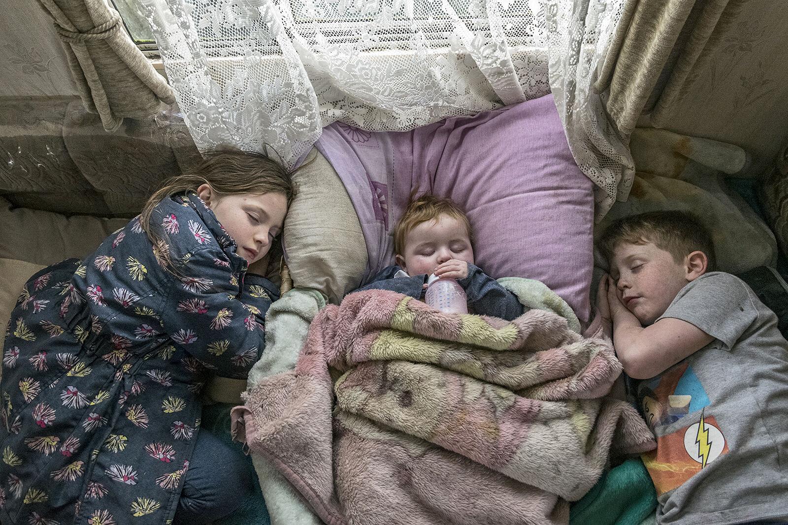 Naptime in Reilly's Caravan, roadside campsite, Tipperary, Ireland 2019