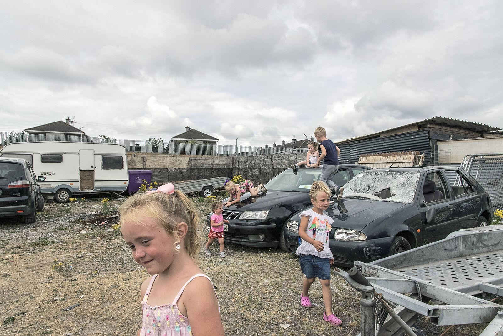 Children Playing in Scrap Yard, Cork, Ireland 2018