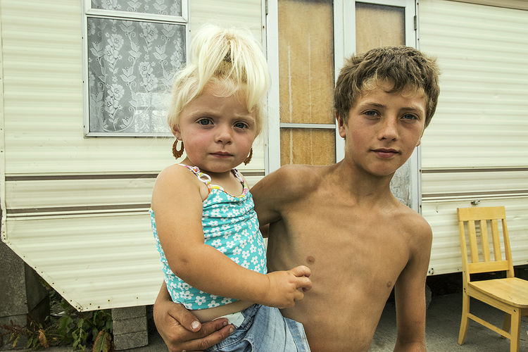 Tommy and his cousin Charlotte, roadside campsite, Tipperary, Ireland 2018