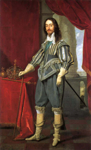 Charles I alongside the Tudor State Crown, by Daniel Mytens