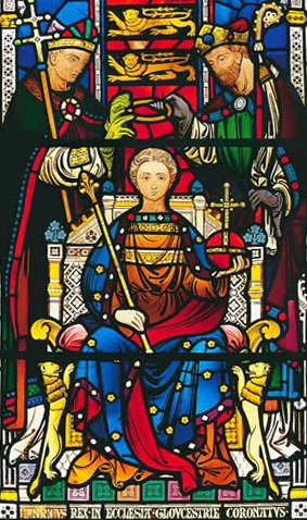 Henry being crowned in 1215, from a stained glass window in Gloucester Cathedral