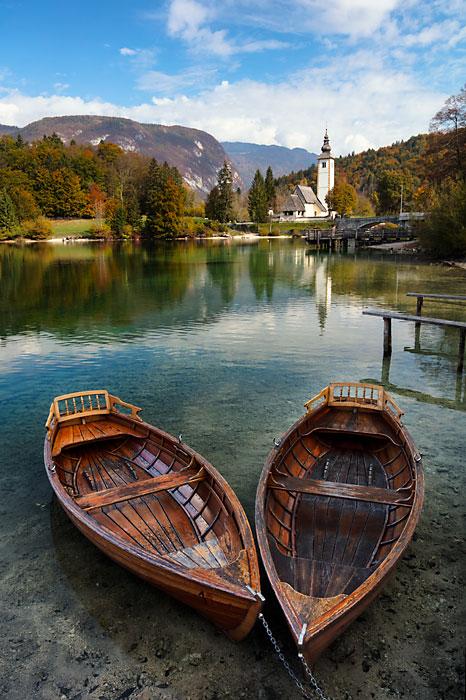 Boats on Lake Bohinj