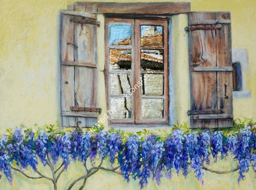 Bellac; window with wisteria