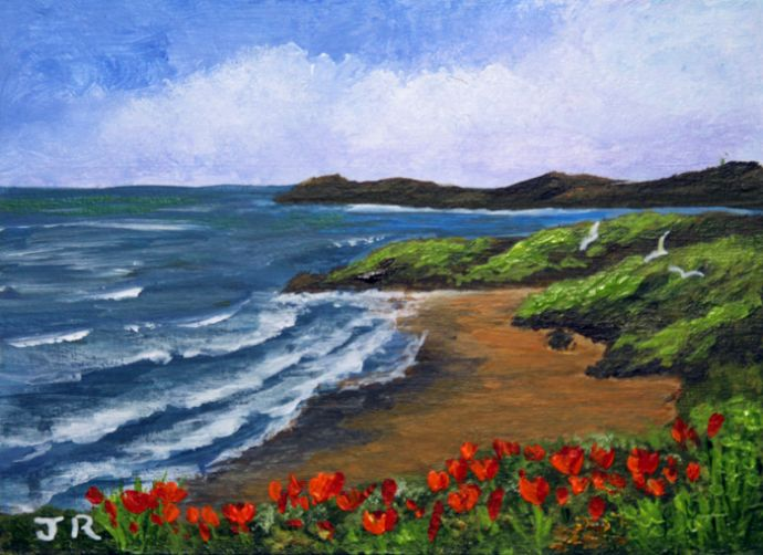 Clifftop poppies **Sold**
