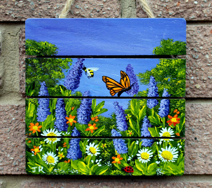 Commission: Lavender with Bee and Butterfly: SOLD