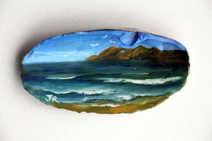 Painted Seashell  Seascape: Sold