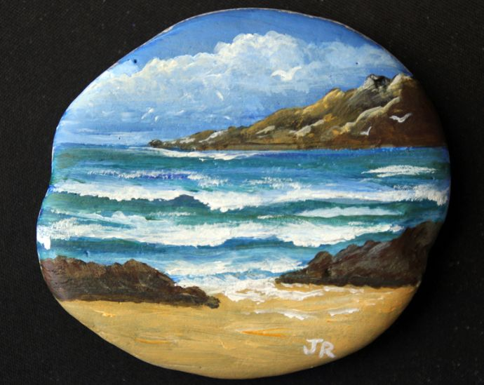 Painted Stone Ocean Waves - Sold