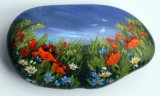 Painted Stone Poppy Meadow - Sold