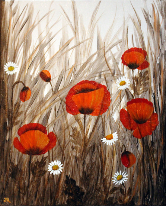 Poppies & Daisies in Cornfield - SOLD