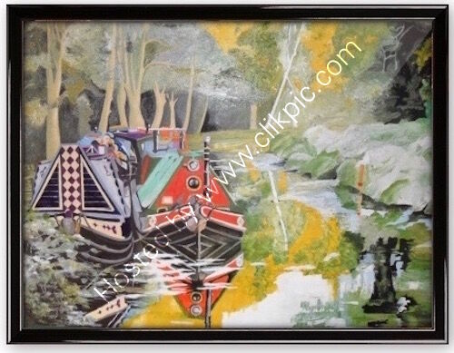oil painting, boat rally, brookwood, basingstoke canal